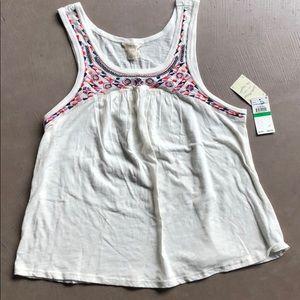 Lucky 🍀Brand Tank Top White embroidery boho NWT!